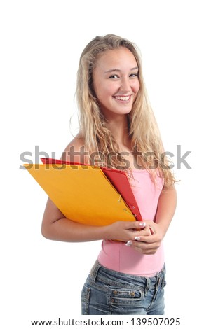 Portrait of a beautiful teenager girl student smiling and posing isolated on a white background
