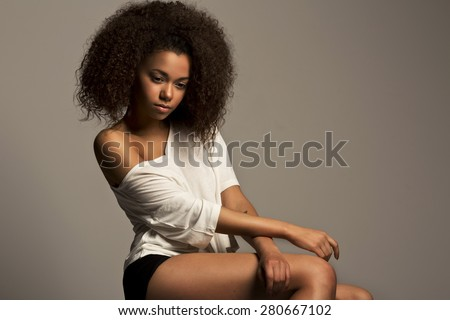 Portrait of a beautiful vogue model young African woman