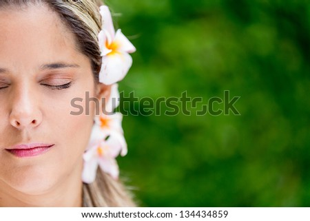 Portrait of a beautiful woman at the spa - stock photo