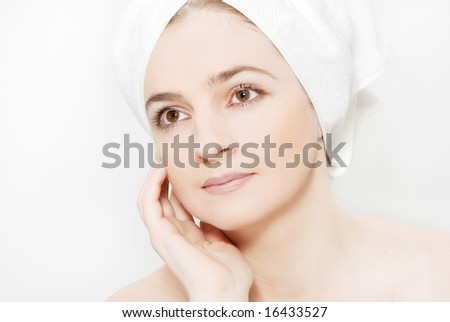 portrait of a beautiful woman getting ready for the spa treatment