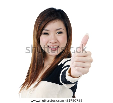 Portrait of a beautiful woman giving thumbs up sign over white background. - stock photo