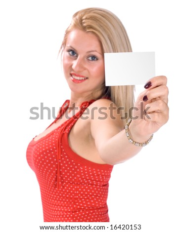Portrait of a beautiful woman holding a blank white note-card (business card), with shallow depth of field (dof). Studio shot