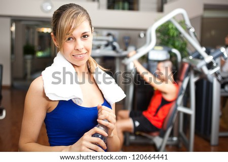 Portrait of a beautiful woman in a fitness club