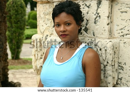 Portrait of a beautiful woman - in a Mediterranean garden