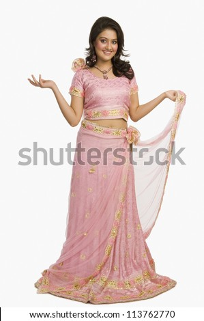 Portrait of a beautiful woman posing in traditional dress