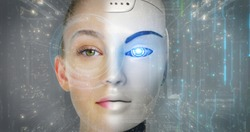 Portrait of a beautiful woman's face with half human face and half-face robot with advanced and futuristic technology.