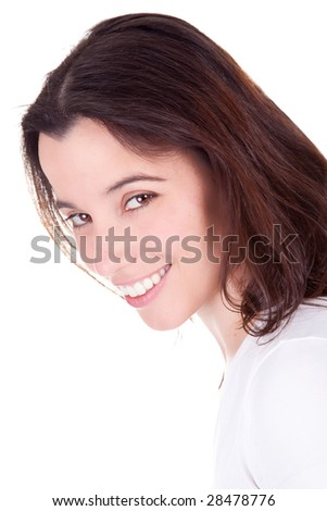 Portrait of a beautiful woman smiling. Isolated on white background.