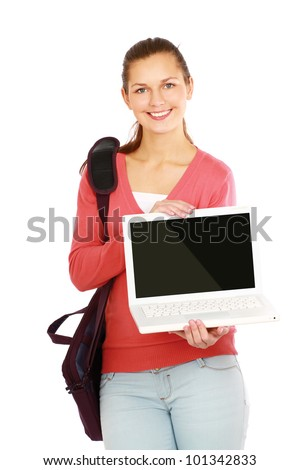Portrait of a beautiful woman with a laptop isolated on white background
