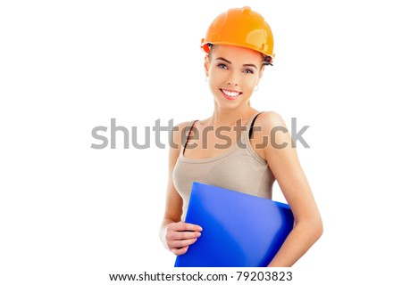 Portrait of a beautiful woman with orange helmet holding blue folder isolated on white background