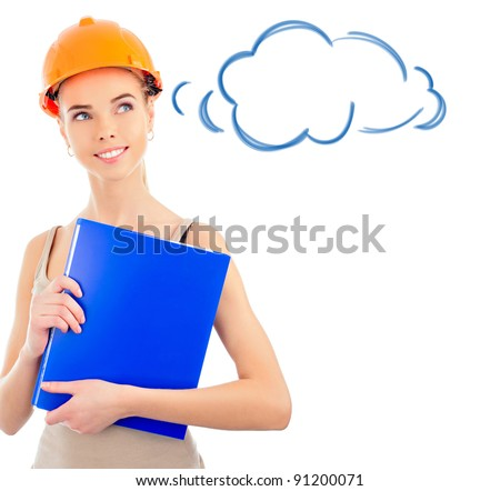 Portrait of a beautiful woman with orange helmet holding blue folder isolated on white background. Blank cloud balloon with copyspace for your text