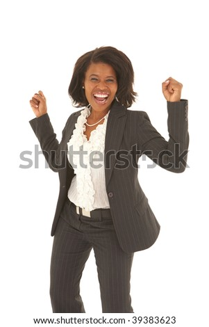 Portrait of a beautiful young African businesswoman looking excited on white background. NOT ISOLATED