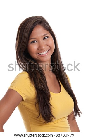 Portrait of a beautiful young Asian woman isolated on a white background