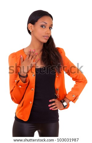 Portrait of a beautiful young black woman , isolated on white background