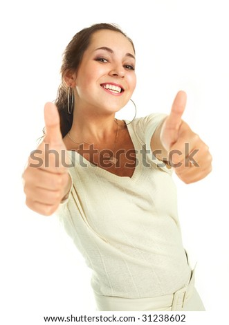 portrait of a beautiful young brunette woman with her thumbs up