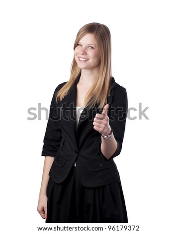 Portrait of a beautiful young business woman showing thumbs up sign isolated on white