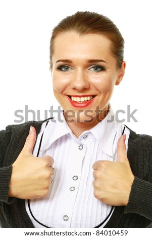 Portrait of a beautiful young business woman showing thumbs up sign with both hands against white background