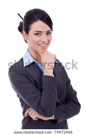 Portrait of a beautiful young business woman thinking against white background