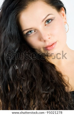 portrait of a beautiful young girl close-up