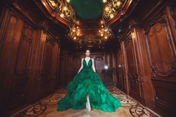 Portrait of a beautiful young girl in a Haute couture green dress standing in a luxurious wooden and bronze interior.