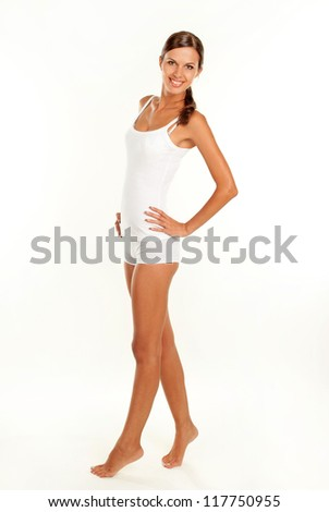 portrait of a beautiful young girl over white background