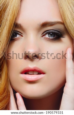portrait of a beautiful young girl with blond hair #190579331