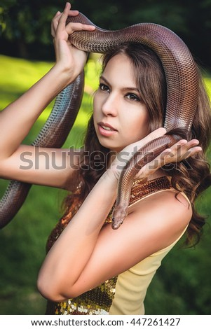 Pity, beautiful naked teen girl with snake words