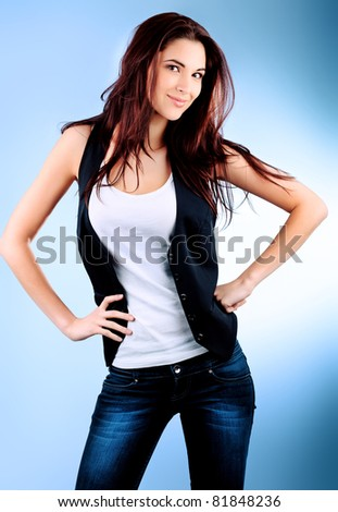 Portrait of a beautiful young woman. - stock photo