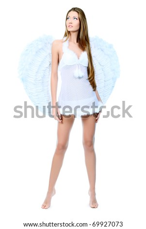 Portrait of a beautiful young woman angel, isolated over white background.