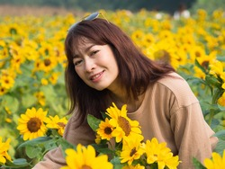 Portrait of a beautiful young woman Asian people aged 35-40 wear brown shirts and black glasses. Stay in the sunflower field at the end of your free vacation and enjoy a break from work. In  morning.