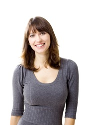 Portrait of a beautiful young woman looking at the camera and smiling, isolated on a white background