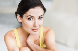 Portrait of a beautiful young woman. , Pretty model girl with perfect fresh clean skin resting at home, Beauty, relaxation and skin care concept