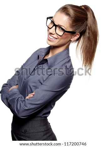 Portrait of a beautiful young woman wearing glasses #117200746