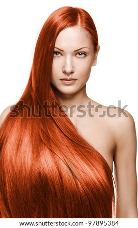 portrait of a beautiful young woman with elegant long red shiny hair , hairstyle , isolated on white background