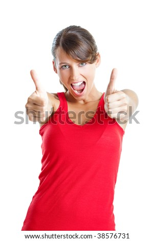 Portrait of a beautiful young  woman with thumbs up, isolated on white - stock photo