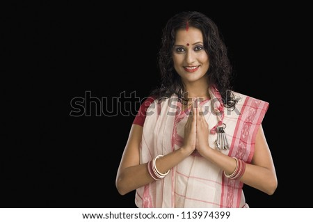 Portrait of a Bengali woman greeting