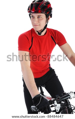 portrait of a bicyclist. Isolated on a white background