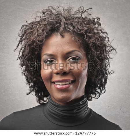 Portrait of a black girl with curly hair