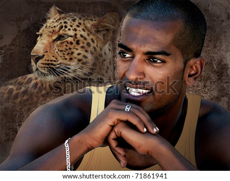 Portrait of a Black Man Smiling - stock photo