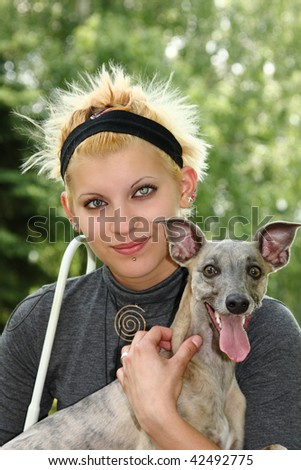 portrait of a blind woman with her dog