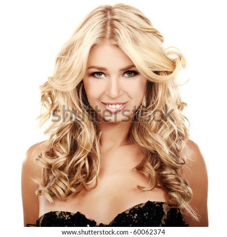 Portrait of a blond lady with a beautiful hair isolated on white