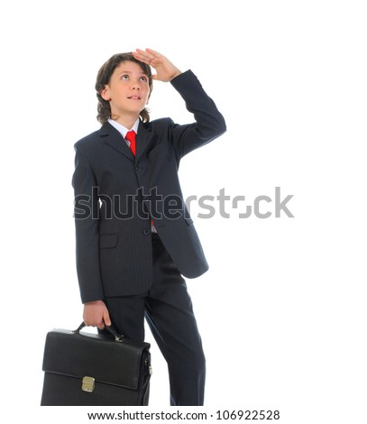 portrait of a boy businessman in a business suit. Isolated on white background
