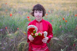 Portrait of a boy in a field with wild flowers. Boy in Russian peasant shirt. In his hands is a wooden horse painted in the style of lubok.