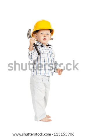 Portrait of a boy in a protective helmet