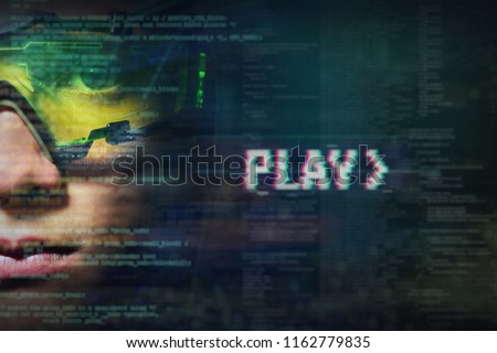 Portrait of a boy with green glasses from real professional gamer and on the graphic background in holography. Concept of: online games, future, technology #1162779835