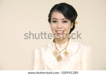 Portrait of a bride, Thai woman with traditional dress