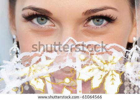 Portrait of a bride with a fan