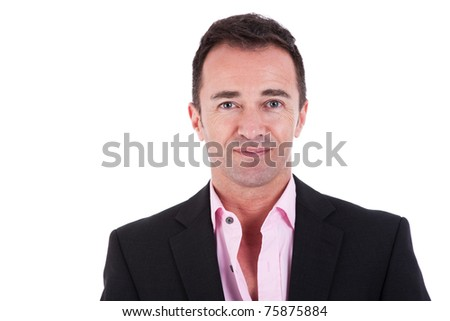 Portrait of a  business man isolated on white background. Studio shot.