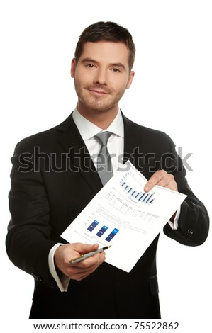 Portrait of a business man pointing to the place in a document that need's your signature
