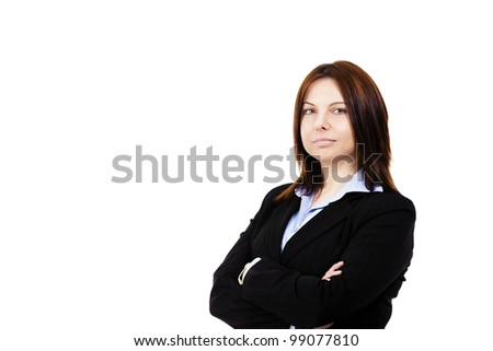 portrait of a business woman on white background - stock photo