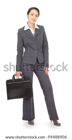 portrait of a business woman on white background